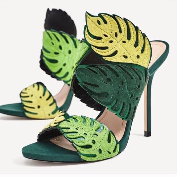 49960523aca Zara Green Leaf Leather Heels. M 5ade67e7739d48bd7c7c2217